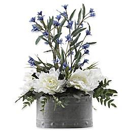 D&W Silks Cream Peonies and Blue Wild Flowers in Planter