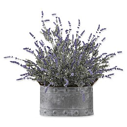 D&W Silks Lavender in Grey Metal Planter