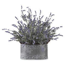 D&W Silks Lavender in Grey Metal Planter