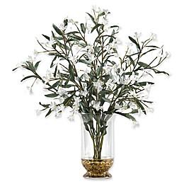 D&W Silks White Wild Flowers in Glass Hurricane Vase