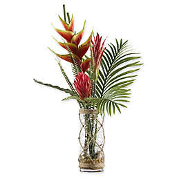 D&W Silks Red/Yellow Heliconia with Palm Fronds in Glass Vase