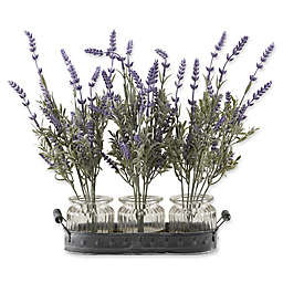 D&W Silks Lavender Branches in Glass Jars on Tray (Set of 3)
