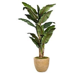 D&W Silks Green Banana Tree Planter in Tan
