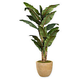 D&W Silks Green Banana Tree Planter in Tan