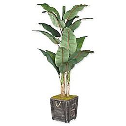 D&W Silks Green Banana Tree in Rustic Wooden Planter Box