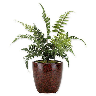 D&W Silks Small Leather Fern in Maroon Ceramic Planter
