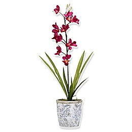 D&W Silks Purple Cymbidium Orchids in Ceramic Planter
