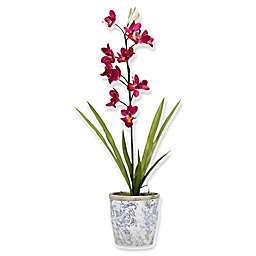 D&W Silks Purple Cymbidium Orchids in Ceramic Planter