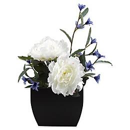 D&W Silks Cream Peonies and Blue Wild Flowers in Metal Planter