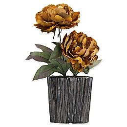 D&W Silks Caramel Brown Peonies in Grey Ceramic Planter