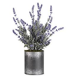 D&W Silks Lavender in Grey Tin Planter