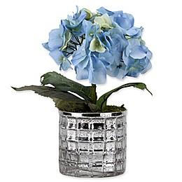 D&W Silks Blue Hydrangeas in Silver Mirrored Glass Vase