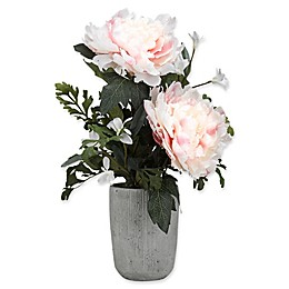 D&W Silks White/Pink Peonies Cement Planter in Grey