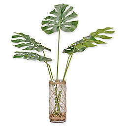 D&W Silks Green Split Leaf Philo in Glass Vase