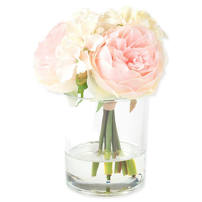 Alternate image 1 for Pure Garden 7.5-Inch Hydrangea/Rose Artificial Arrangement in Pink/Cream with Clear Glass Vase