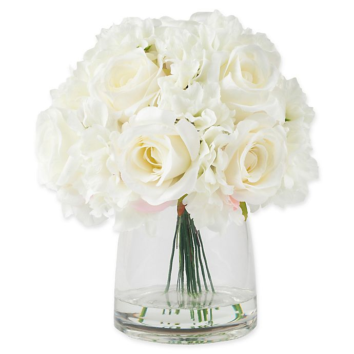 Alternate image 1 for Pure Garden 11.5-Inch Hydrangea/Rose Artificial Arrangement in Cream with Clear Glass Vase