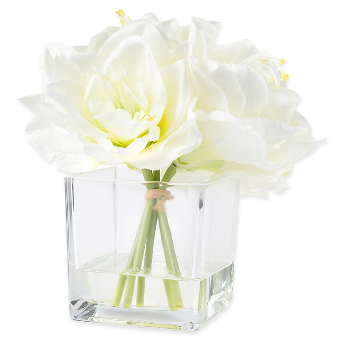 Pure Garden 8 5 Inch Lily Artificial Arrangement In Cream
