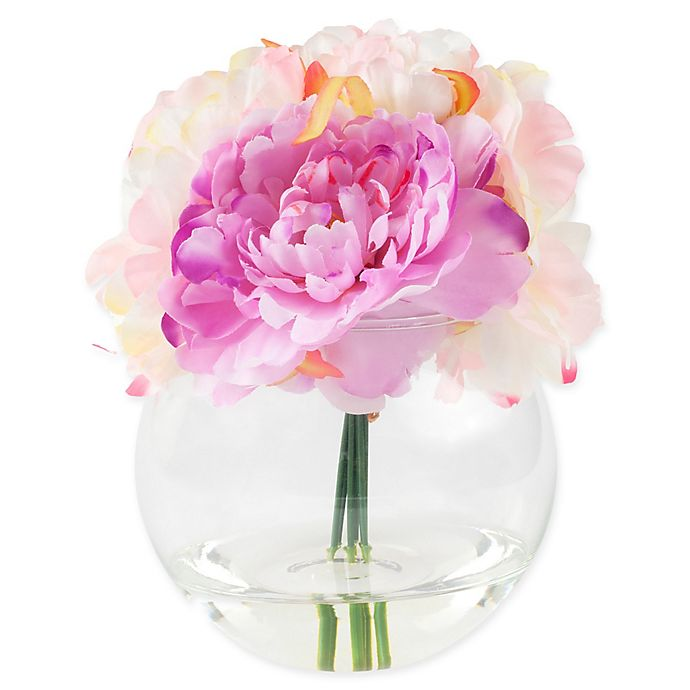 Alternate image 1 for Pure Garden 7.5-Inch Peony Artificial Arrangement in Pink with Clear Glass Vase