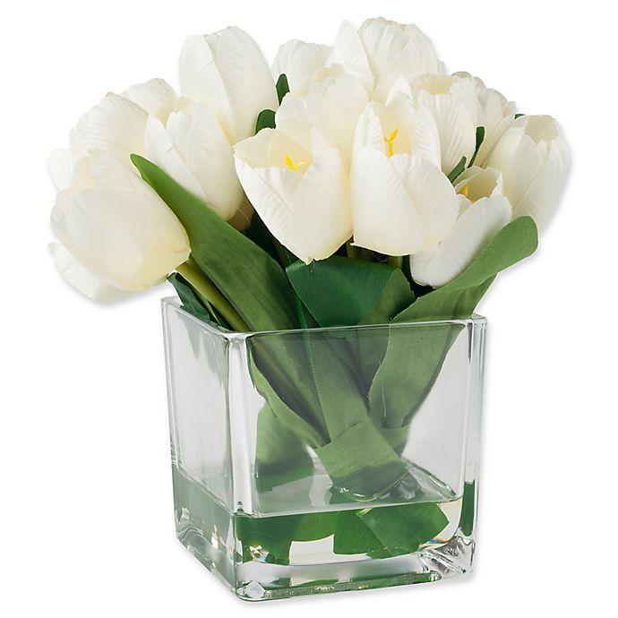 Alternate image 1 for Pure Garden 8.5-Inch Tulip Arrangement in Clear Glass Vase