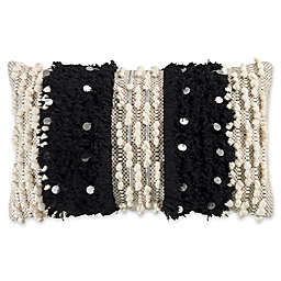 KAS Raina Fringe Oblong Throw Pillow in Ivory/Black