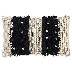 KAS Raina Fringe Oblong Throw Pillow in Ivory/Black
