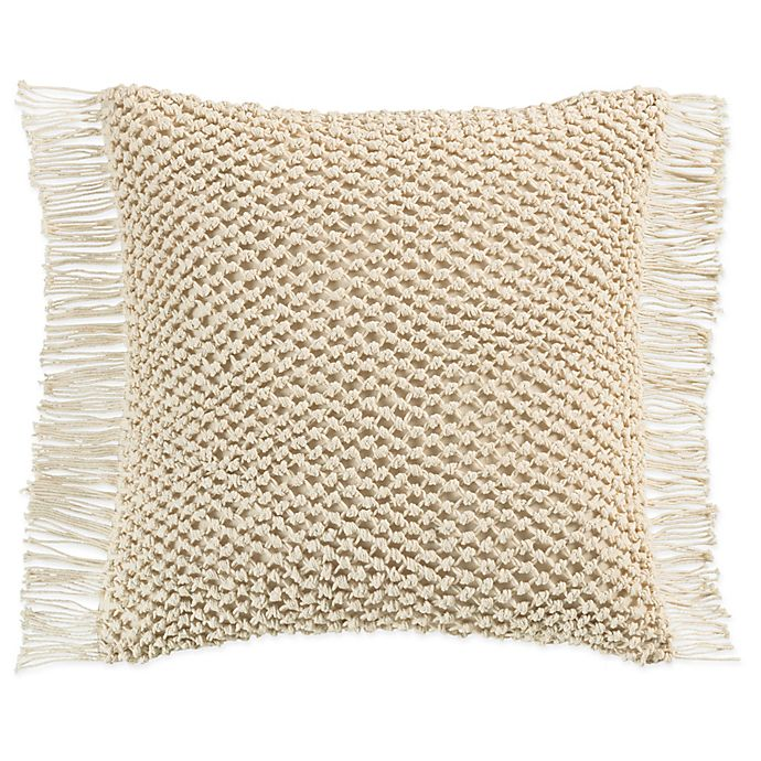 Alternate image 1 for KAS Raina Macramé Square Throw Pillow in Ivory