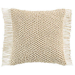 KAS Raina Macramé Square Throw Pillow in Ivory