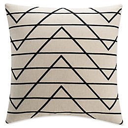 KAS Raina Geometric Embroidered Square Throw Pillow in Ivory