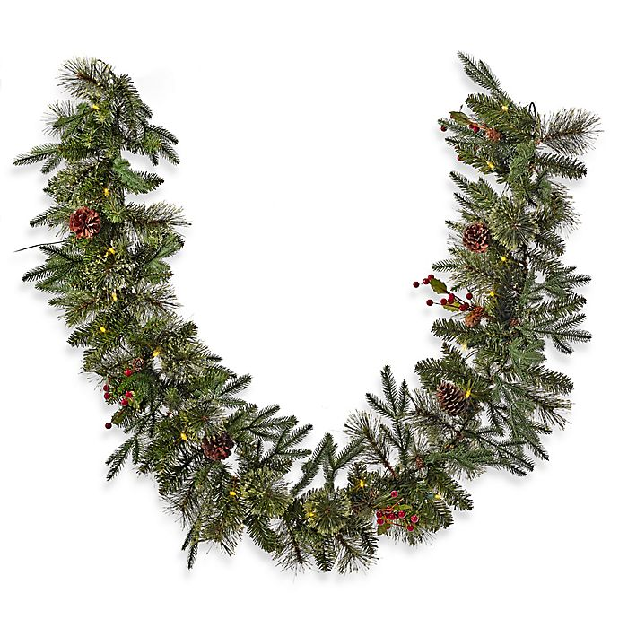 Alternate image 1 for 6-Foot Pre-Lit Traditional Garland (Set of 2)
