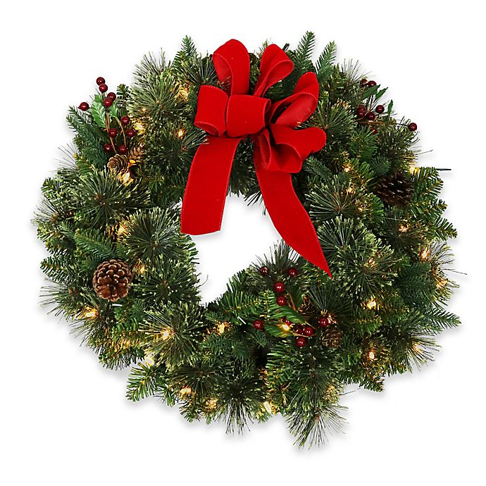 24 Inch Pre Lit Cashmere Wreath With White Led Lights