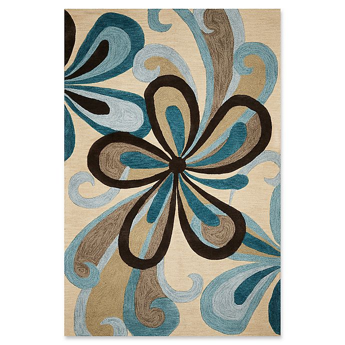 Alternate image 1 for KAS Milan Groove 5' x 7'6 Area Rug in Sand/Teal