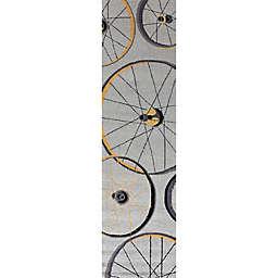 KAS Sonesta Wheels in Motion 2'x 7'6 Hand Hooked Runner in Grey