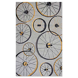 KAS Sonesta Wheels in Motion 5' x 7'6 Hand Hooked Area Rug in Grey