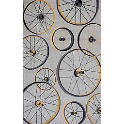 KAS Sonesta Wheels in Motion 7'6 x 9'6  Hand Hooked Area Rug in Grey