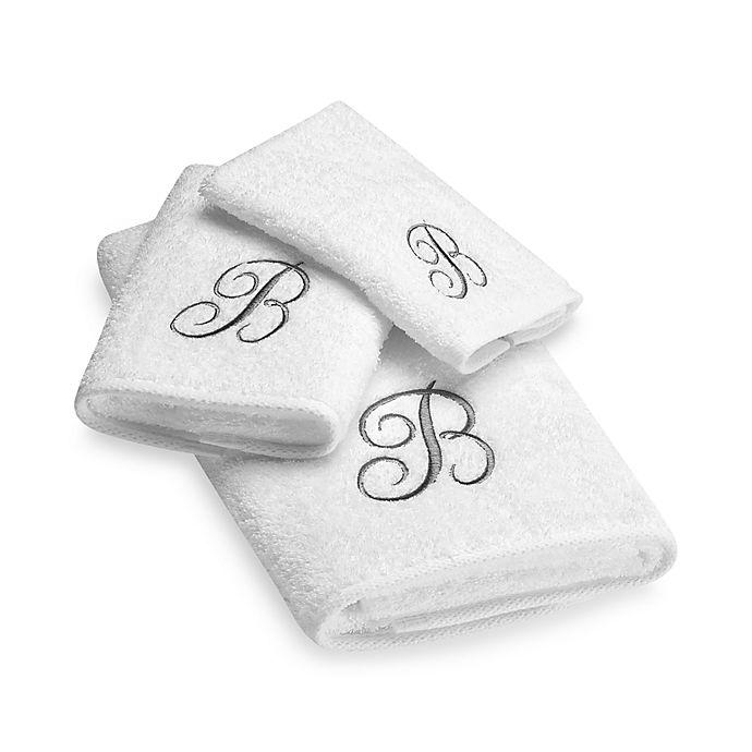 Alternate image 1 for Avanti Premier Silver Script Monogram Hand Towels in White