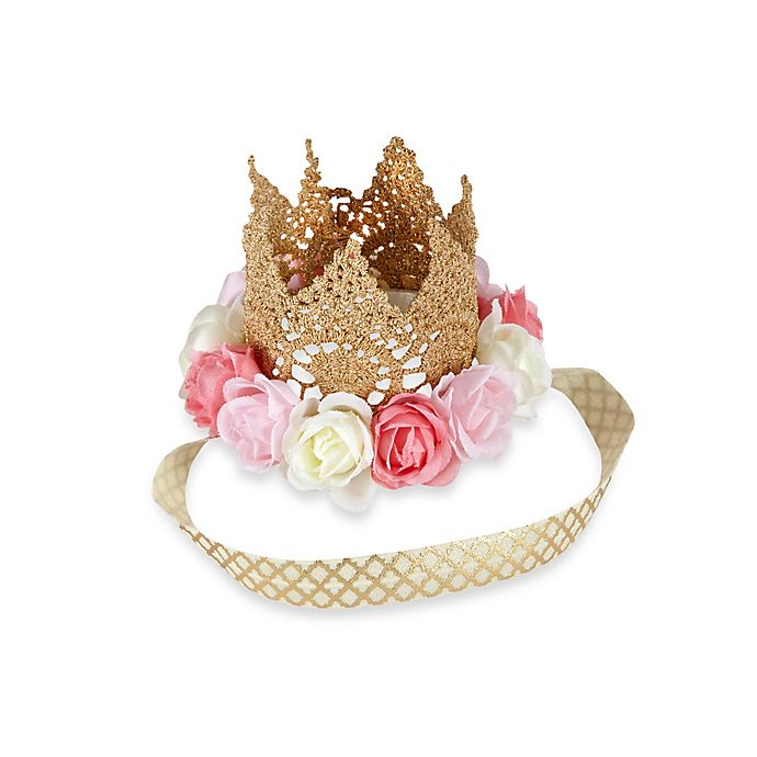 Alternate image 1 for Toby Fairy™  Newborn Rose Gold Metallic Lace Crown Headband with Flowers