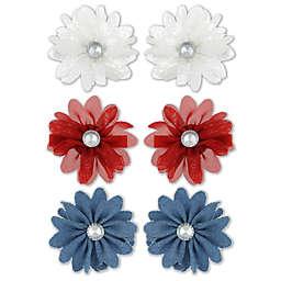 Capelli New York 6-Pack Americana Gemstone Flower Hair Clips in Red/Blue/White
