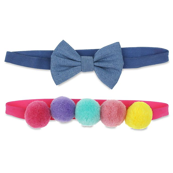 Alternate image 1 for Capelli New York 2-Pack Chambray Bow and Pom Headbands