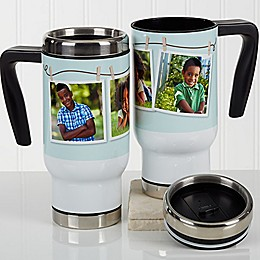 3-Photo Collage 14 oz. Travel Mug in White