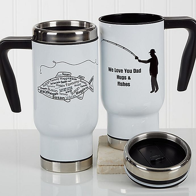Alternate image 1 for What A Catch! 14 oz. Travel Mug in White