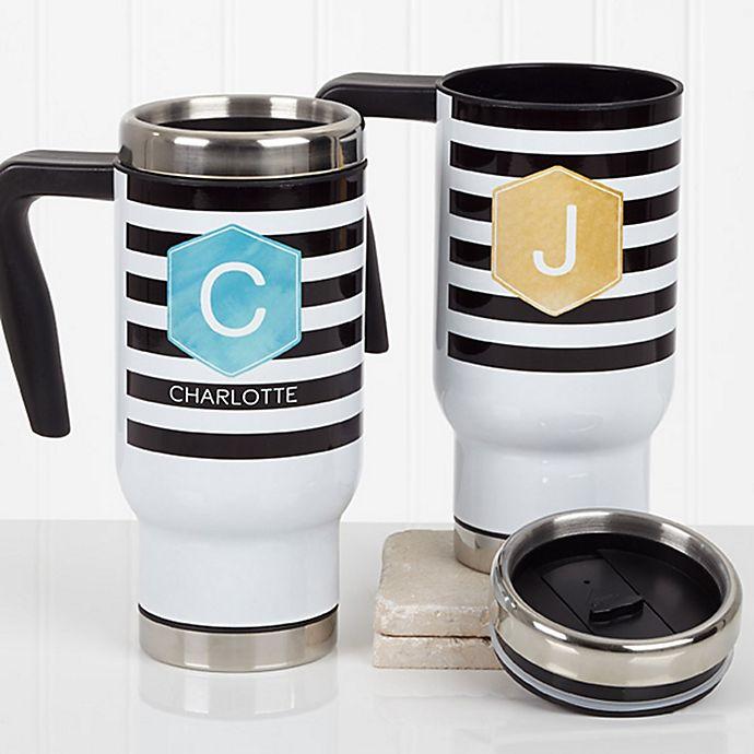 Alternate image 1 for Modern Stripe 14 oz. Travel Mug in White
