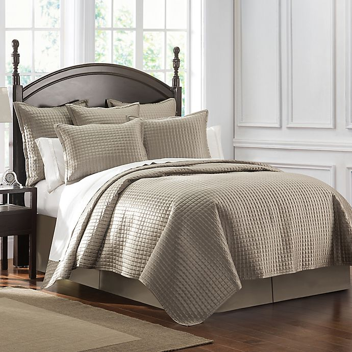Alternate image 1 for Waterford® Crystal King Quilt in Taupe