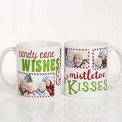"""Candy Cane Wishes and Mistletoe Kisses"" Photo Christmas Mug"