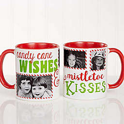Candy Cane Wishes and Mistletoe Kisses 11 oz. Photo Christmas Mug in Red
