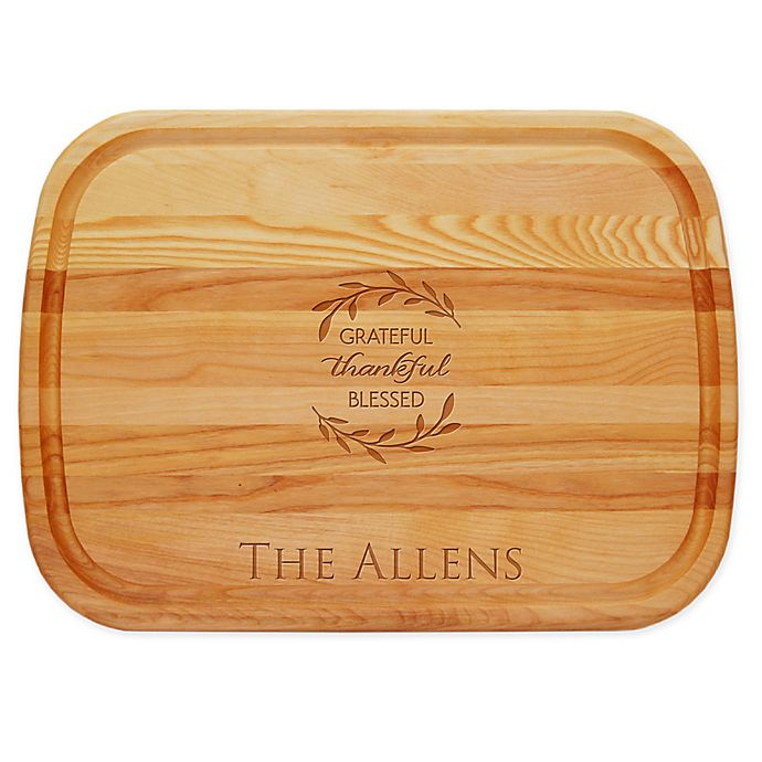 Alternate image 1 for Carved Solutions Grateful Thankful 21-Inch x 15-Inch Everyday Board