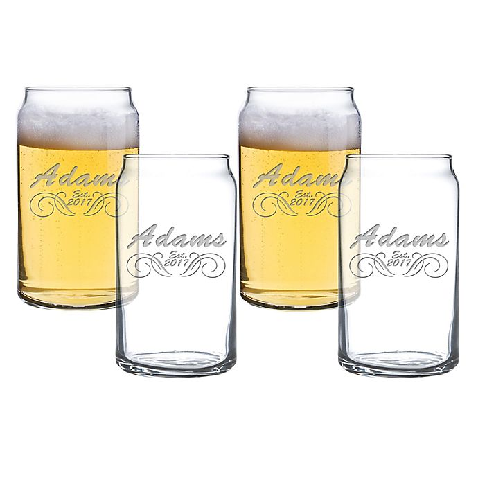 Alternate image 1 for Carved Solutions Adams Beer Can Glasses (Set of 4)