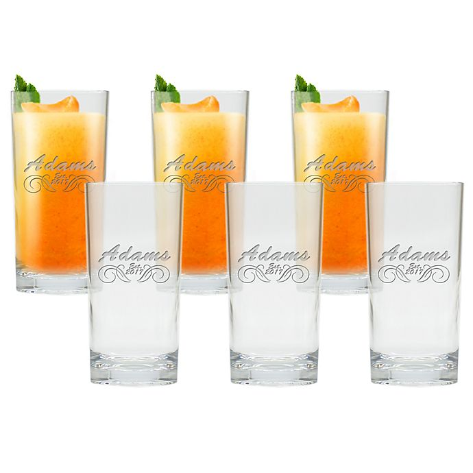 Alternate image 1 for Carved Solutions Adams Clear Double High Ball Glasses (Set of 6)