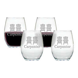 Carved Solutions Adirondack Chair Stemless Wine Tumblers (Set of 4)