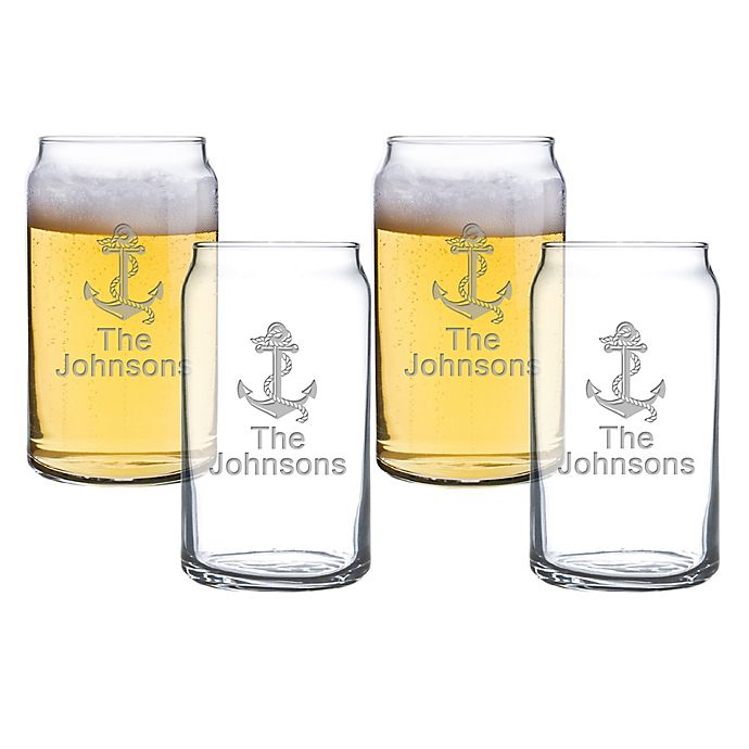Alternate image 1 for Carved Solutions Anchor Beer Can Glasses (Set of 4)