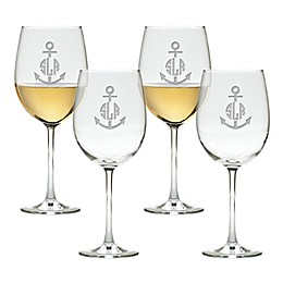 Carved Solutions Anchor Tulip Wine Glasses (Set of 4)